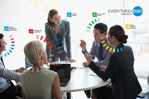 Business woman leading a team meeting with several team members and each member has their personality type trait listed above their head