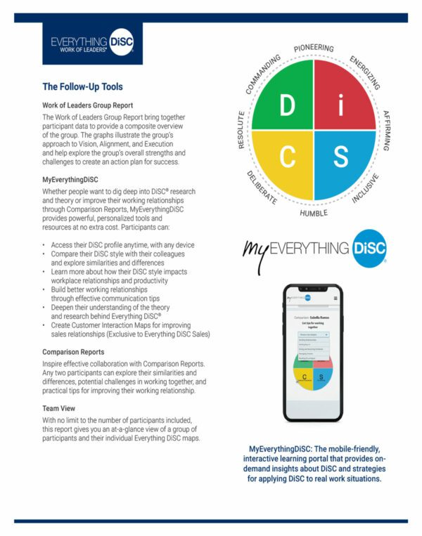 Everything disc work of leaders brochure explaining the benefits to managers and leaders in the organization