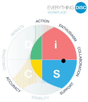 DISC chart showing the four areas of the disc profiles test